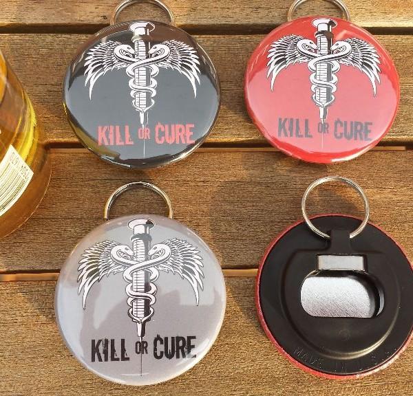 Kill or Cure Bottle Opener Keyring
