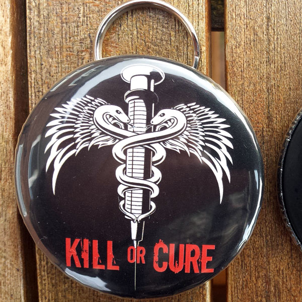Kill or cure bottle opener keyring black