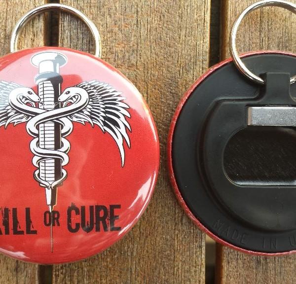 Kill or Cure Bottle Opener Keyring Red