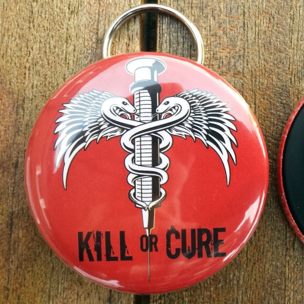 Kill or cure bottle opener keyring red