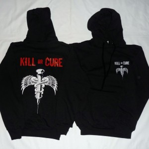 Kill or cure sweat hoodie front back 1