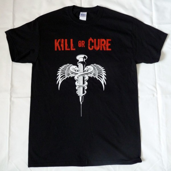 Kill or Cure men's black T-Shirt red/white print
